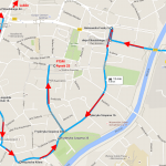 Mapa Rzeszowa z naniesionymi parkingami w okolicach schroniska